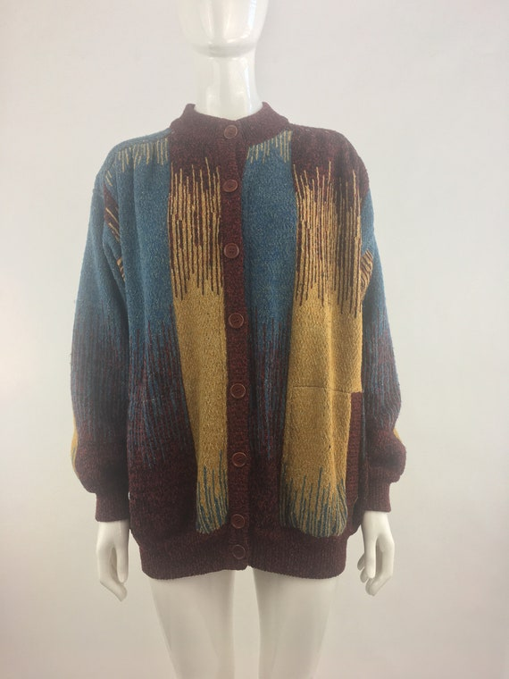 1980's Dark Red Abstract Sweater Jacket|Oversized
