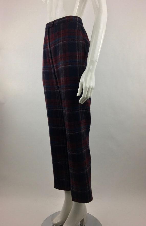 1980's Pendleton Classic Plaid Pants|Burgundy & B… - image 8