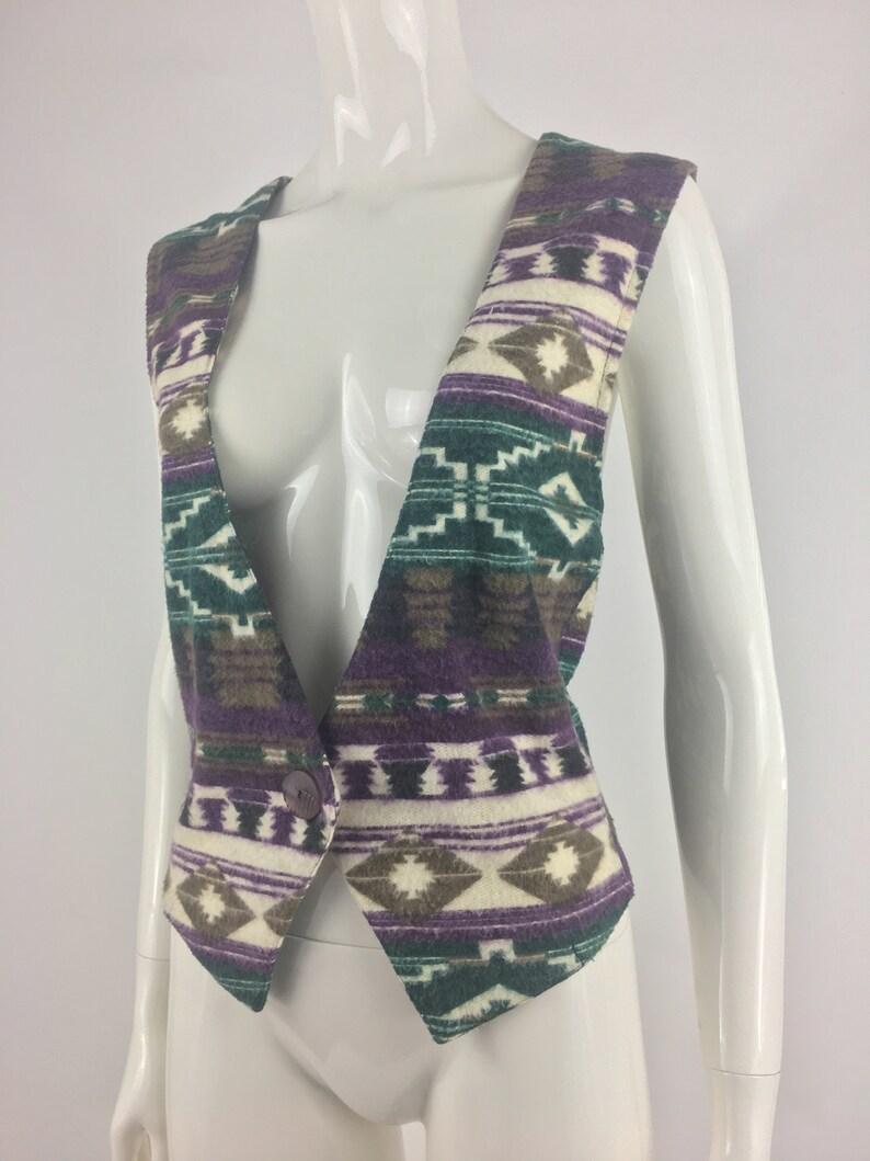 Vintage 1990's Stampede White Vest w Purple & Green Native American  Inspired Print|Aztec Print Vest|Western Vest|Cowboy Vest|Size Large
