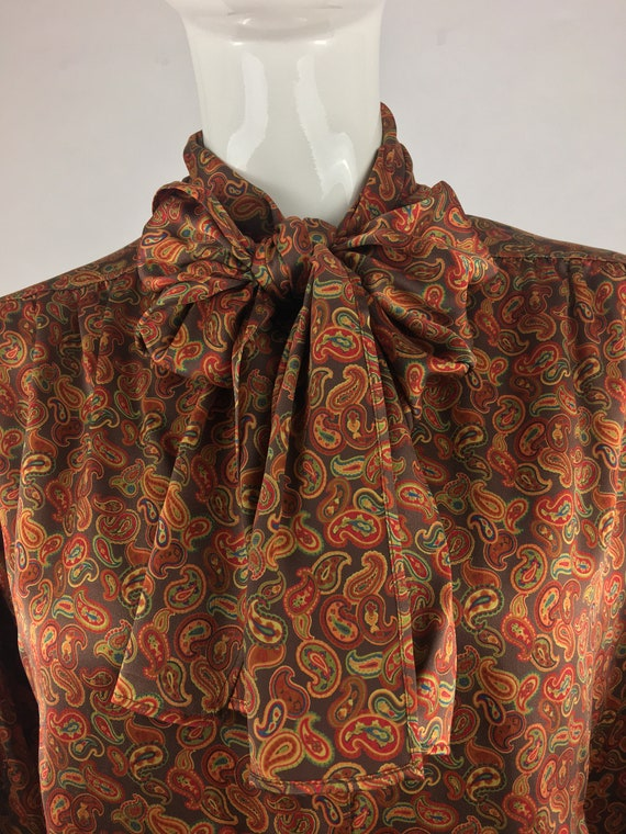 1980's Escada Burnt Orange Paisley Blouse|Silk Pus