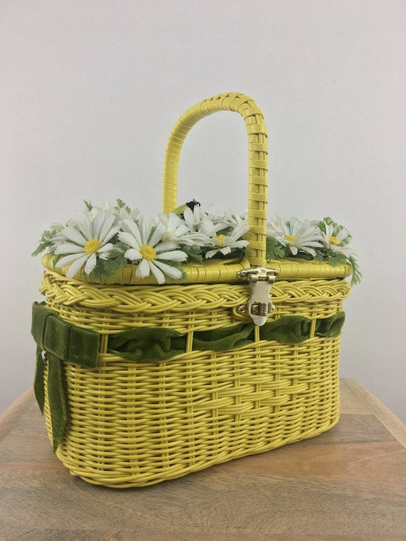 60's Yellow Wicker Basket Purse|Wicker Picnic Bag|
