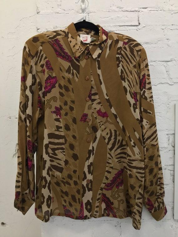80's Mondi Brown & Pink Baroque Mixed Print Blouse