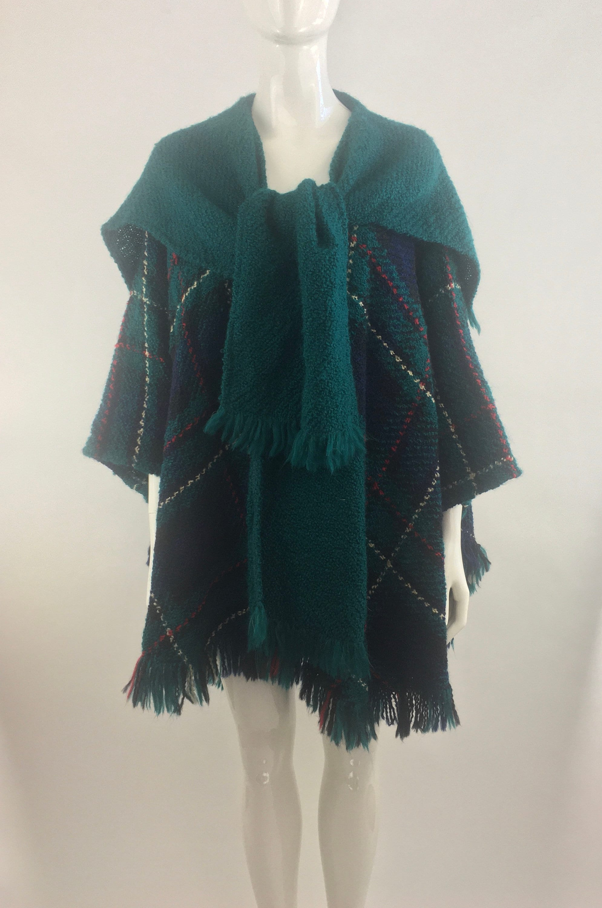 Vintage Scarf Styles -1920s to 1960s 1980s Boyne Valley Weavers Hand Knitted Green Plaid Poncho W Attached ScarfClassic ShawlPlaid CapeWool Blend DusterSize Os $0.00 AT vintagedancer.com