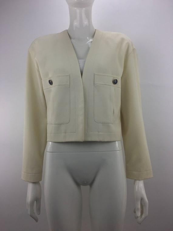 1980's Anne Klein II Ivory Blazer|Cropped Blazer|W