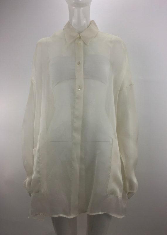 1990's Shear Ivory Blouse|Over-Sized Blouse|Minima