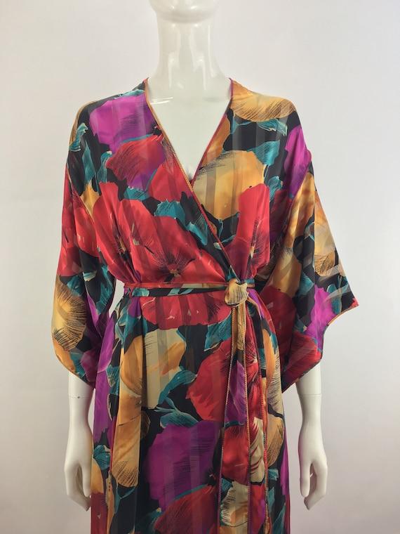 1980's Mary McFadden Peignoir Set|Floral Night Gow