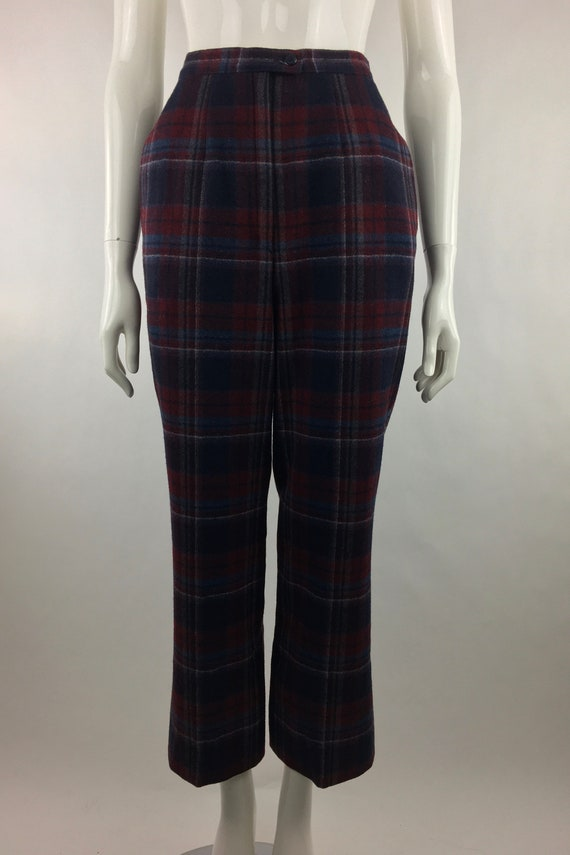 1980's Pendleton Classic Plaid Pants|Burgundy & B… - image 5