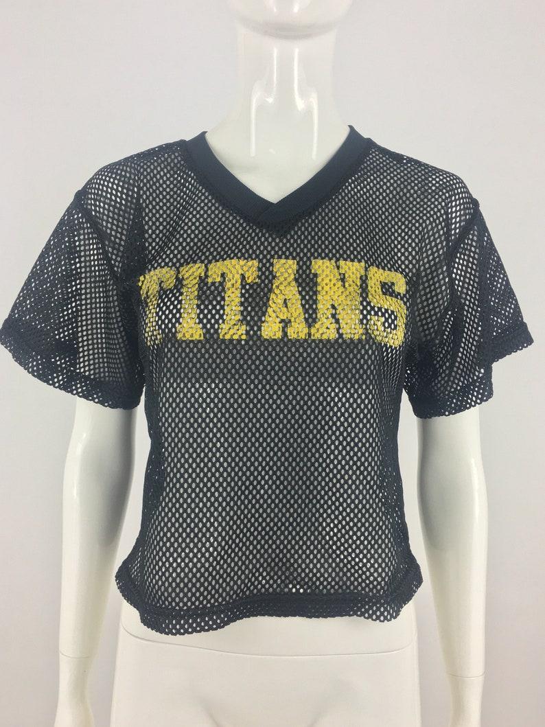 Vintage 1990/'s Champro Sports Black Titans Football Jersey|Black Practice Jersey|Cropped Football Jersey|See Through Football Jersey|Size SM