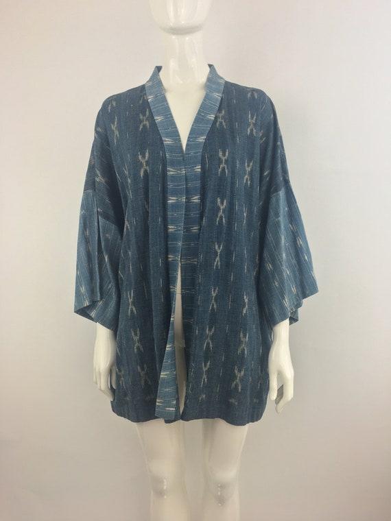 1990's Denim Kimono|Mixed Print Jean Duster|Boho H