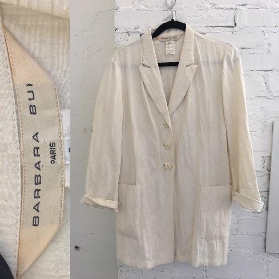 1980's Barbara Bui White Blazer|Crinkled Blazer|Wo