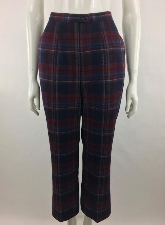 1980's Pendleton Classic Plaid Pants|Burgundy & B… - image 4