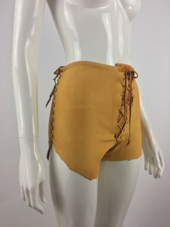 1970's Tan Leather Shorts|Lace Up Leather Hippy S… - image 6