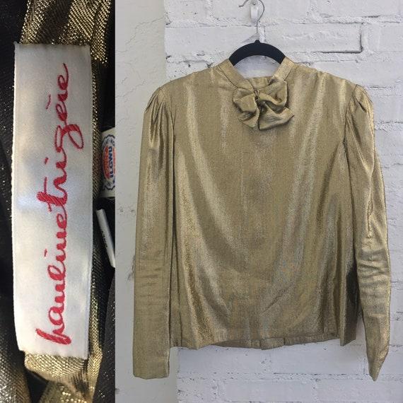 1980's Hauliuetrigere Metallic Gold Blouse|Michael