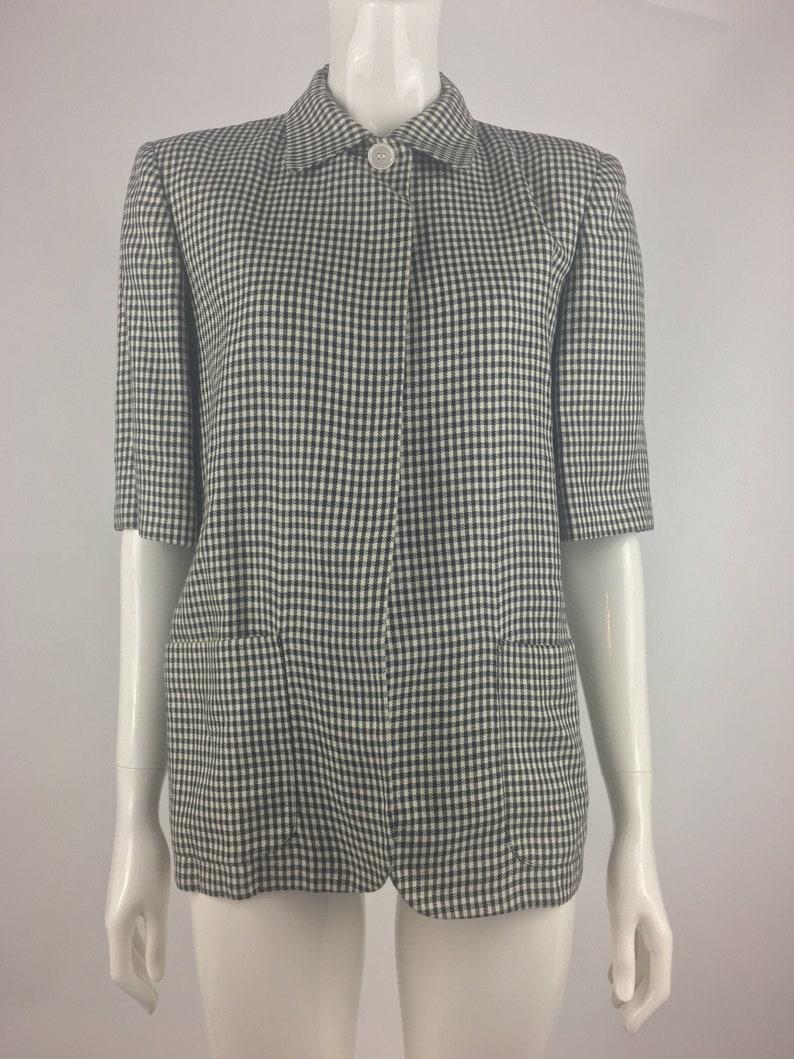 1990/'s Perry Ellis Black /& White Checkered Blazer|Short Sleeved Blazer|Summer Blazer|Preppy Blazer|Size 10