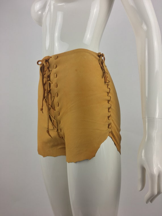 1970's Tan Leather Shorts|Lace Up Leather Hippy Sh