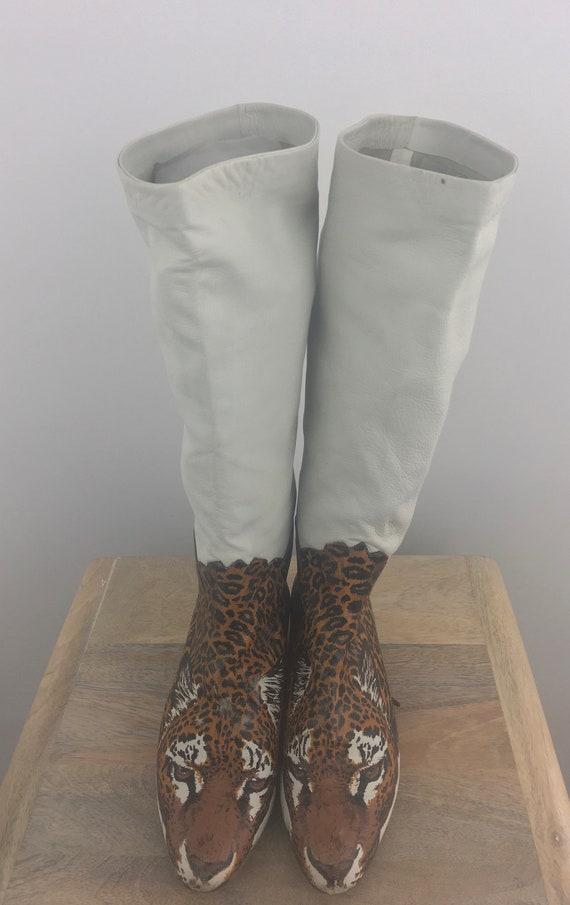 1980's Raffaele Giardini Boots White Leather Boots