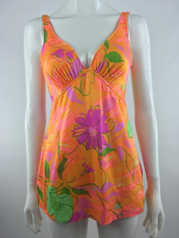 1960's Orange Floral One Piece Swimsuit|Floral Bat