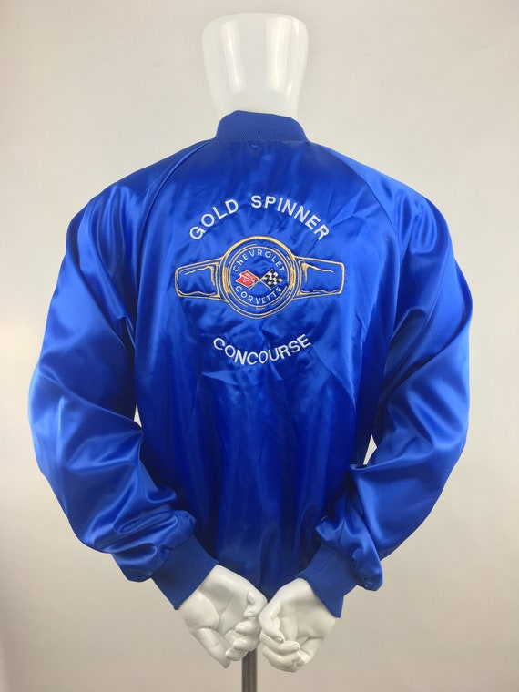 1980's Blue Satin Chevrolet Corvette Jacket|Satin