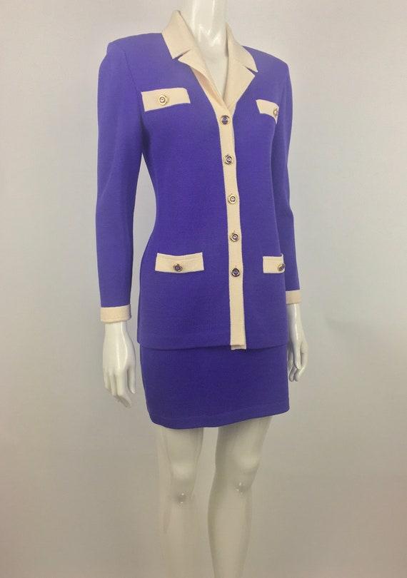 80s St John by Marie Gray Purple Knit Suit Chanel