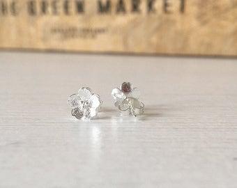 Sterling Silver Flower Studs, Ladies Studs, Wedding Jewellery