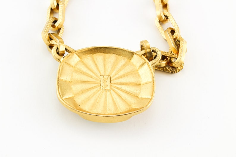 YSL Necklace 1980s Vintage Gold Plated Pendant