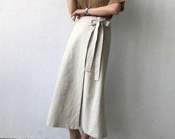 d435f3a2b9 linen High-Waisted long wrap skirt- linen maxi skirt- Beige long skirt - long  linen wrap skirt - long pencil skirt