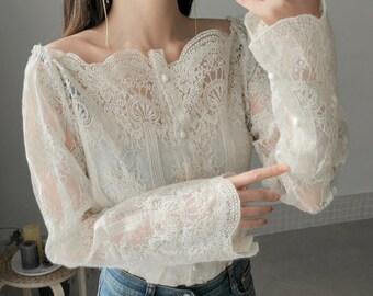 e2ef10af82f lace blouse   lace tunics for women   lace tops for women   eyelet blouse    bridal blouse   vintage blouse   boho top   vintage lace