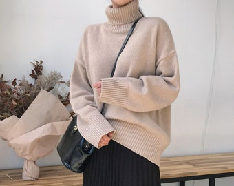ea7f913f7edae 3Colors High Neck Cozy knit Sweater  Long sleeves Pullover oversized knit  top  loose fit sweater plus size winter sweater sweaters for women