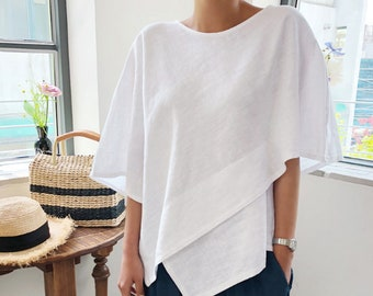 f090c62c 4Colors Linen tops for women / White linen tunics for women / White linen  blouse / loose fitting linen top / white top / linen clothing