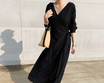f19e7556ba2 Linen wrap dress   Linen maxi dress   summer linen dress   belt dress    Button down dress   Linen clothing   linen long dress   Linen