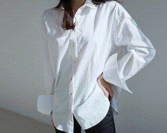 Cotton Button down White tunic / Long Sleeve White Top/ artist smock/ loose fit white Shirt / White Tunic Shirt /white button down shirt