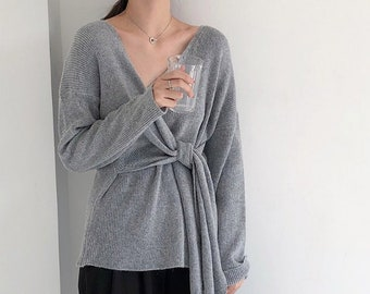 d26464453a336 Gray Sweaters for women   knits for women   knit top   Wrap top   Kimono  top   gift for her   women loose sweater   tops for women