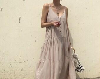 1680f1f5f1be Maxi dress / flare dress / Cotton maxi dress / summer dress / summer maxi  dress / Linen dress / Linen maxi dress / boho Pinafore dress