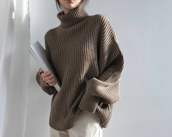 72289e6371586 High Neck Cozy knit Sweater  Long sleeves Pullover oversized knit top   loose fit sweater plus size winter sweater sweaters for women