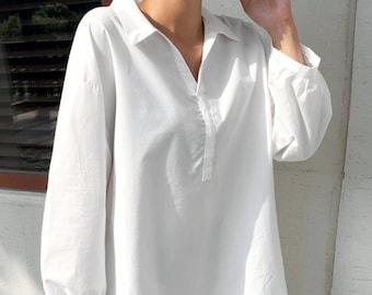 d0aef271980c7 Cotton White tunics for women   collar tops for women   loose tunic   loose  top   shirts for women   loose fit top   artist tunic   White