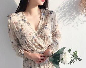 754e18518de Floral Maxi Dress Long sleeve