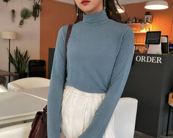 Cozy Cotton tight turtleneck sweaters/warm sky blue sweater/sweaters for women/tight long sleeve top/turtleneck top for women/minimalist
