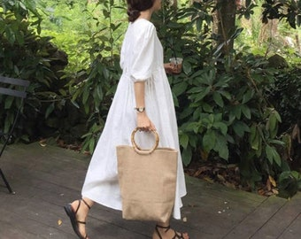 3a6f3e860b2 Linen loose tunic dress   Linen long dress   flared dress   romantic dress    loose fit dress   Linen maxi dress   comfortable dress   Kimono
