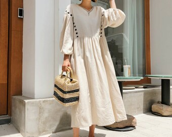 5f65b4b6c40 Linen loose tunic dress   Linen long dress   flared dress   romantic dress    loose fit dress   Linen maxi dress   comfortable dress   Linen