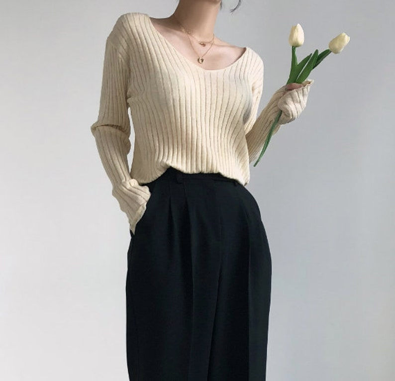 Modern blouse  sweaters for women  knits for women  knit blouse  v neck blouse  modern sweaters  knit tops  tops for women  vintage