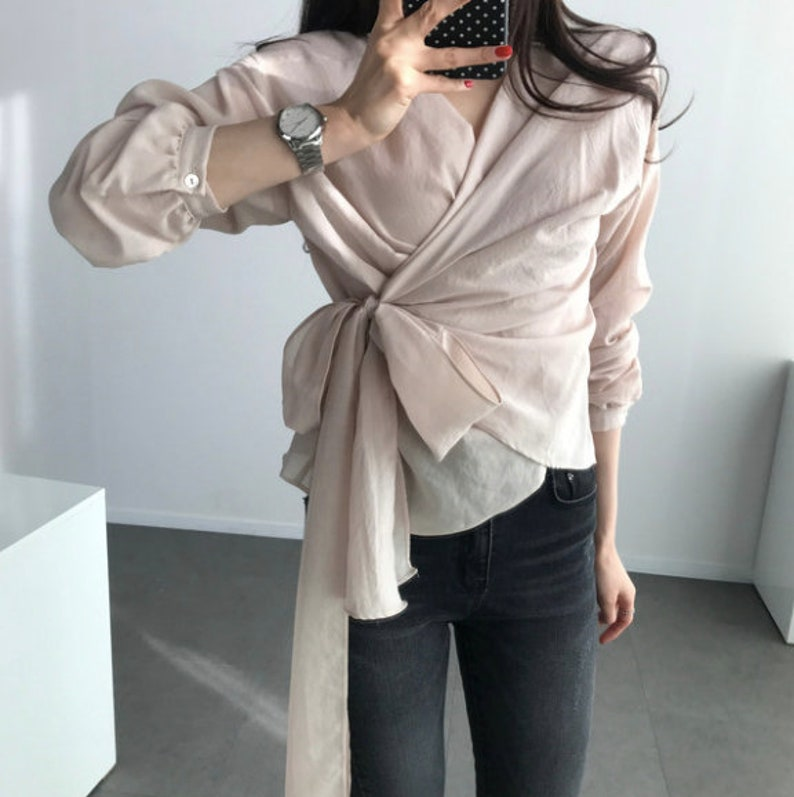 7214bc7fa5da3d 3Colors Long sleeve wrap blouse / crop wrap tops / artist | Etsy