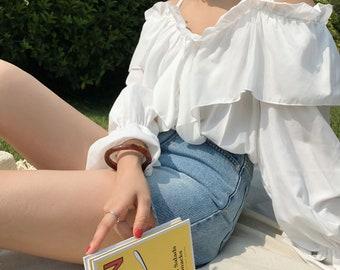 Summer Off the shoulder top / Crop top / Off Shoulder Top  / Off Shoulder Shirt / Off Shoulder T shirt / Off the Shoulder Shirt
