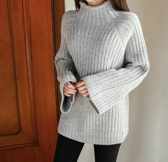 c2b38f2dae High Neck Cozy knit Sweater  Long sleeves Pullover oversized
