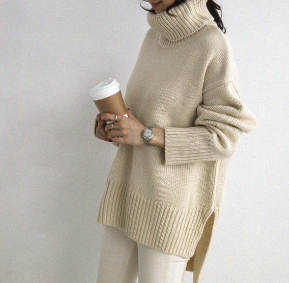 4161b827c2 2Colors High Neck Cozy knit Sweater  Long sleeves