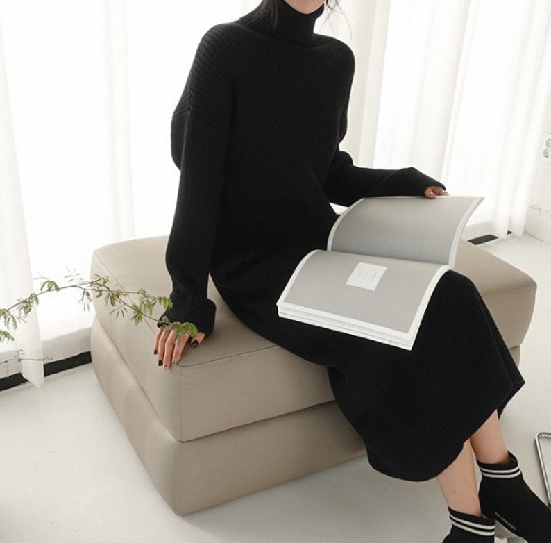 310fb607a5b Black High Neck sweaters dress   sweater long dress   knit