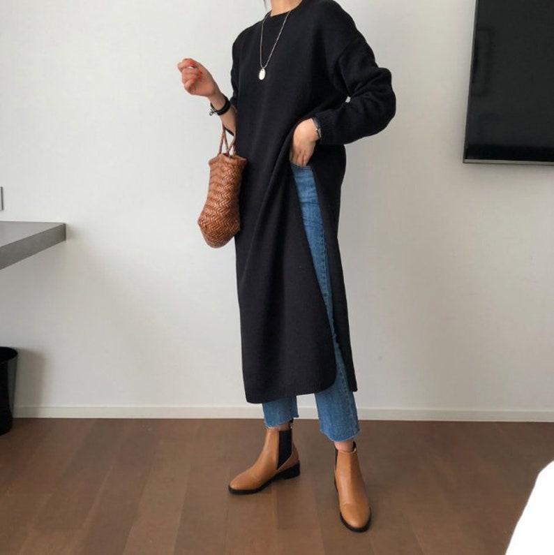 3Colors tunic long dress  tunics for women  knit tunics  sweater tunic  sweaters for women  sweater dress  long sweaters  minimalist