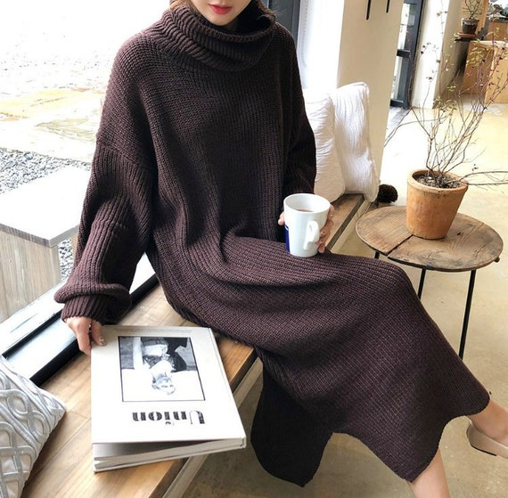 ce76a2730f0 2Colors High Neck sweaters dress   sweater long dress   knit