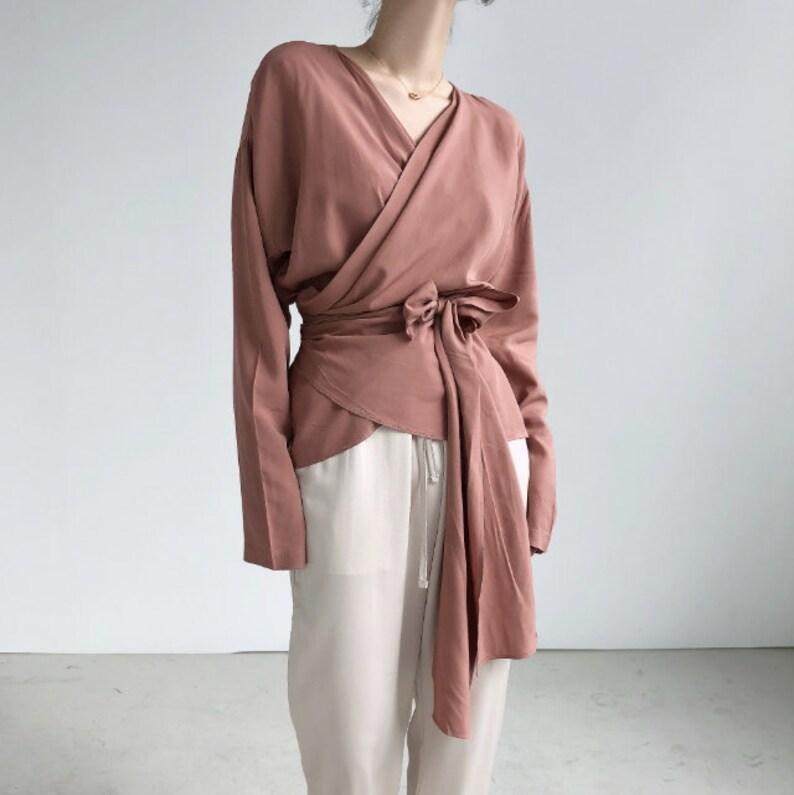 ac630513e59b0f 2Colors Long sleeve wrap blouse / crop wrap tops / artist | Etsy