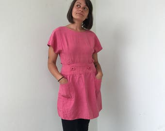La vie en rose! Pink dress with pocket made in raw silk size S