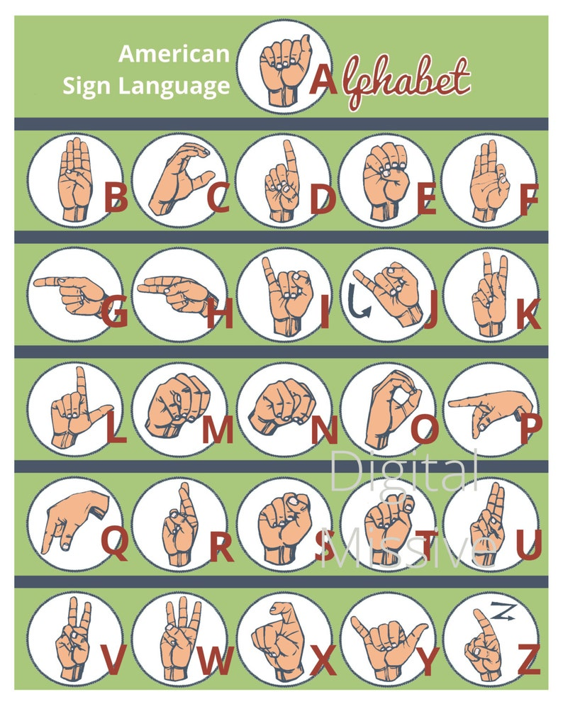 graphic relating to Asl Printable named American Indication Language (ASL) Inexperienced Alphabet Print - ASL Electronic Down load Print - Hand Alphabet Example - Educate and Find out ASL Printable